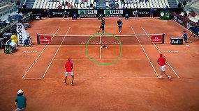 Per vieną itempčiausių teniso mačo akimirkų į kortą įbėgo katė