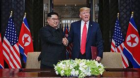 D.Trumpo ir Kim Jong Uno susitikimas: rankos paspaudimas, pokalbis ir pasiektas susitarimas