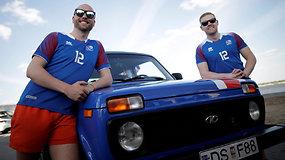 """Islandai 5 tūkst. km kelionę į Maskvą įveikė senu """"Lada"""" automobiliu"""