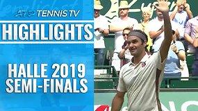 ATP turnyro Halėje pusfinaliai - R.Federerio ir D.Goffino pergalės