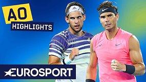 """""""Australian Open"""" ketvirtfinalyje – Dominico Thiemo pamokos Rafaeliui Nadaliui"""