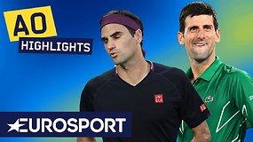 """""""Australian Open"""" pusfinalyje – įtikinama Novako Džokovičiaus pergalė prieš Rogerį Federerį"""