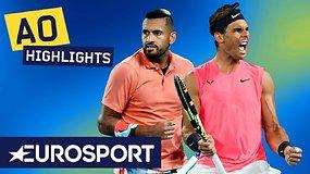 """""""Australian Open: Rafaelis Nadalis dramatiškoje kovoje palaužė Nicką Kyrgiosą"""