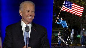 Laimėjęs Amerikos prezidento postą Joe Bidenas kreipėsi į tautiečius, žadėjo suvienyti susiskaldžiusią šalį ir kovoti su COVID-19
