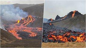 Po beveik tūkstančio metų tylos išsiveržė Islandijos ugnikalnis: spjaudėsi 100 metrų aukščio lavos fontanais