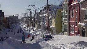 Rekordinės pūgos užvertė sniegu Kanadą