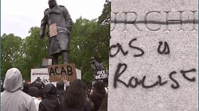 Protestuotojams užkliuvo skulptūros: išniekino paminklą Winstonui Churchilliui