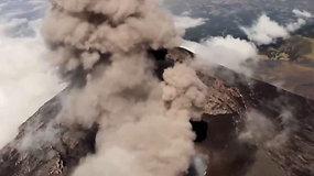 Unikali galimybė: pažvelkite į rusenantį Popokatepetlio ugnikalnio kraterį