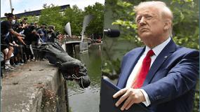 Už skulptūrų išniekinimą protestų metu, D.Trumpas siūlys griežtesnes bausmes nei 10 m. kalėjimo
