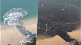 Dieviško grožio paplūdimyje – dvokianti juodų nuotekų upė tiesiai į Ramųjį vandenyną