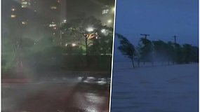 """Galingas taifūnas """"Maysak"""" užliejo gatves, vartė medžius ir šviesoforus, pranešama apie pirmąsias aukas"""