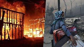 Didžiausią migrantų stovyklą Graikijoje nusiaubė gaisras – iš jos bėga tūkstančiai žmonių