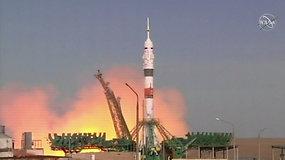 """NASA astronautė paskutinį kartą pakilo į kosmosą rusiška """"Sojuz"""" raketa"""