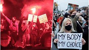 Lenkijoje – sprendimas uždrausti abortus net apsigimimų atveju: minos protestais kovoja už moterų teises