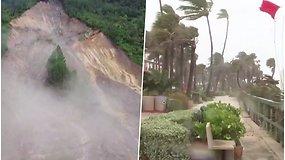 """Įsismarkavusi audra """"Eta"""" po savęs palieka potvynius ir nuošliaužas – jau pasiekė Floridos salas"""