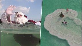 To dar nebuvo: kalėdinė eglutė sužibo vidury Negyvosios jūros, kur neauga jokie augalai