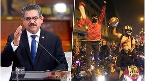 Aukų pareikalavusius protestus keičia džiaugsmo šūksniai – atsistatydino 5 d. dirbęs Peru prezidentas
