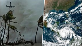 """Dramatiški uragano """"Iota"""" vaizdai – į krantą atsimušusi banga virto milžiniška vandens siena"""