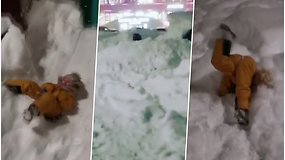 Stipri pūga sniegu užvertė miestą: vaikai šėlo nardydami sniege, o suaugusieji į darbą keliavo slidėmis