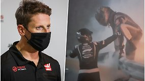 Prabilo siaubingą avariją išgyvenęs R.Grosjeanas – dėl traumų teks praleisti svarbias lenktynes
