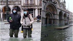 Dalis Venecijos atsidūrė po vandeniu – nesuveikus naujai įrengtai apsaugos nuo potvynių sistemai, vanduo apsėmė ir garsiąją baziliką