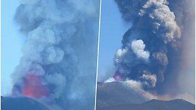 Grėsmingas grožis: užfiksuoti įspūdingi Etnos ugnikalnio išsvieržimo vaizdai