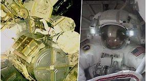 NASA astronautai leidosi į 6,5 val. pasivaikščiojimą kosmose – pamatykite, kaip tai atrodo