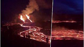 Iš ugnikalnio prapliupo garuojanti lavos upė – grėsmingas grožis pritraukė minias