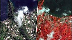 Palyginkite: kaip gyvenvietė atrodė prieš ir po ugnikalnio išsiveržimo?