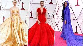 """Prabanga ant """"Oskarų"""" raudonojo kilimo: žvaigždės sužibėjo elegancija ir ryškiais įvaizdžiais"""