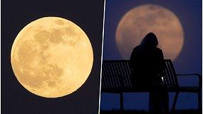 Gyventojus pakerėjo virš miestų patekėjęs supermėnulis – pasigrožėkite