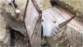 """Kontrabandą slėpė betoniniuose """"karstuose"""" – nelegalų krovinį išdavė svoris"""