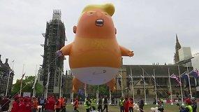 Į dangų pakilo D.Trumpo balionas – kadenciją baigiantis JAV prezidentas pavaizduotas su sauskelnėmis