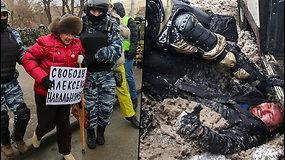Protestai Rusijoje tęsiasi: sulaikyta tūkstančiai žmonių, policija panaudojo jėgą