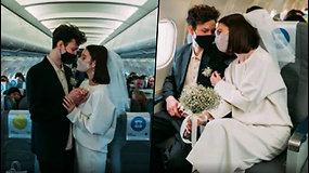Jauna rusų pora iškėlė išskirtines vestuves – susituokė pakilę į dangų