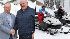 A. Lukašenka padėkojo V. Putinui už ekonominę paramą masinių protestų metu – derybos baigėsi slidinėjimu