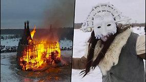 Rusai išvijo žiemą – garsiai rėkė ir šoko aplink degantį bokštą
