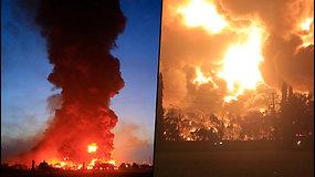 Vaizdas šokiruoja: naftos perdirbimo įmonėje kilo milžiniškas gaisras