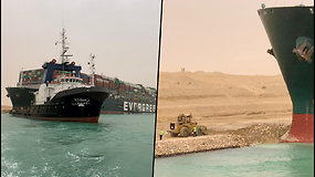 """Dėl """"vėjo gūsio"""" nuo kurso nukrypęs didžiulis laivas užblokavo Sueco kanalą"""