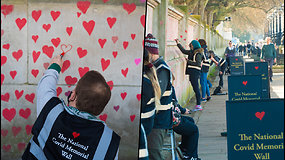 Memorialas pandemijos aukoms – ant sienos nupiešta beveik 150 tūkst. širdžių