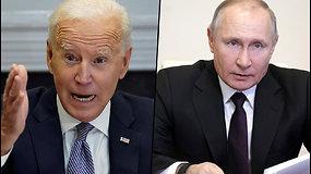 Įtampa tarp Maskvos ir Vašingtono – Kremlius svarstys J.Bideno pasiūlymą surengti susitikimą su V.Putinu