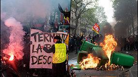 Tarptautinės darbo dienos protestai Europoje – demonstrantai daužė banko langus, padegė šiukšliadėžes