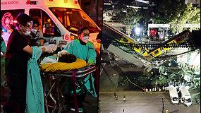 Skaudi nelaimė Meksikos geležinkelyje: įgriuvus estakadai, traukinys lūžo per pusę