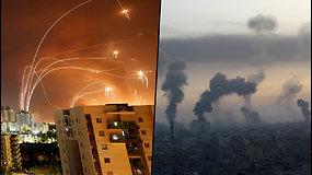 Siaubą keliantys vaizdai – raketų salvės iš Gazos Ruožo lekia į Tel Avivą