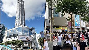 Netikėtai pradėjo siūbuotiaukščiausias Kinijos dangoraižis – išsigandę žmonės bėgo lauk
