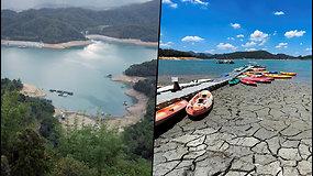 Vaizdas nustebino Taivano gyventojus – dėl didelės sausros dalis ežero išdžiuvo