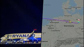 """""""Ryanair"""" lėktuvas atliko avarinį nusileidimą Berlyne – gavo pranešimą apie bombos pavojų"""