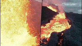 Retas vaizdas: operatorius užfiksavo, kaip aktyvaus Islandijos ugnikalnio lava prarijo droną