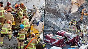 P.Korėjoje užfiksuota akimirka, kaip penkiaaukštis pastatas užgriuvo ant 17 žmonių vežusio autobuso