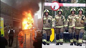 Londono centre kilo didžiulis gaisras – jį gesino apie 100 ugniagesių